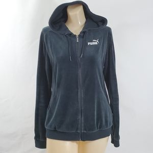 Puma Hoodie Women's Large Black Velour Full Zipper